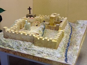 Jerusalem Model for Catechesis of the Good Shepherd, Acrylics on Wood and Modeling Compound 36 x 36
