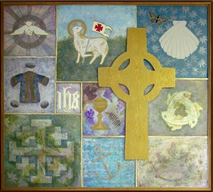 Symbols of the Church Wall Hanging, Acrylics on Wood 64 x 58